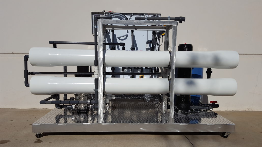 large commercial reverse osmosis water filtration system display back side