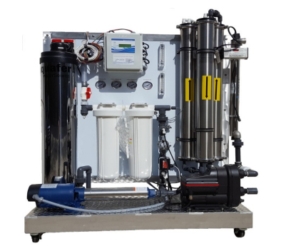 commercial reverse osmosis water filtration system display on wheels